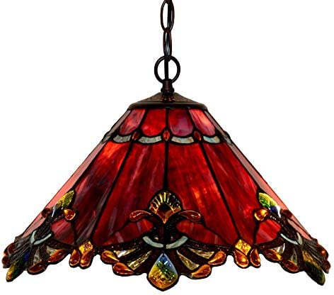 Bieye L10059 Baroque Tiffany Style Stained Glass Ceiling Pendant Fixture with 17 Inch Wide Handmade Shade Red
