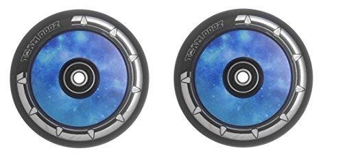 Team Dogz Escúter Hueco Core (UFO) 110mm LLANTA DE ALEACIÓN/Ruedas Galaxia Rojo, Morado O Azul Core con Negro Poliuretano Individual Ruedas o un par - Galaxia Azul Par (2)