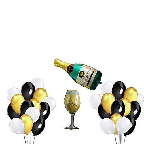 Champagne Aluminum (PalkSky Gold Champagne Balloons Decorations Kit for Merry Christmas Happy New Year Party Supplies,40 inch Aluminum foil Gold Balloons)