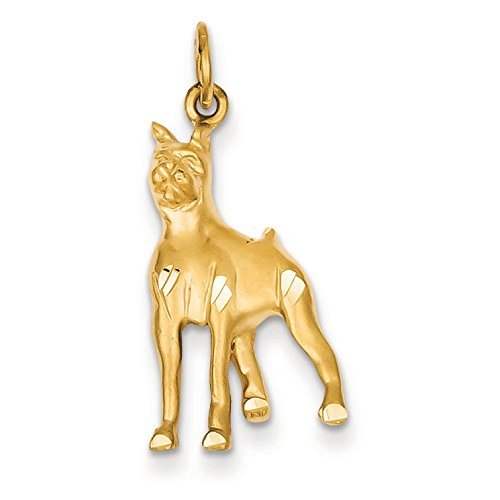 14K Yellow Gold Boxer Dog Charm Pendant ()