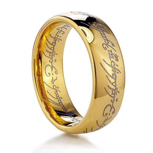 YuRocker Hobbit One Ring Lord Rings Size 6-13 Black Tone Wideth 6mm - Stainless Steel (Gold, 13)