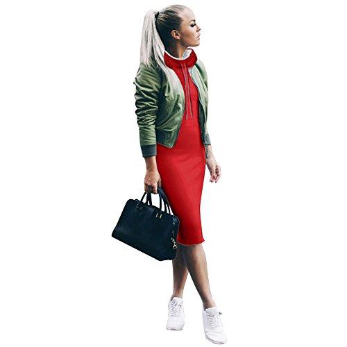6aac89b5b64 Amazon.com  Women Casual Winter Shirt Bodycon Dress Ladies Long Sleeve Mini  Dress ANJUNIE  Clothing