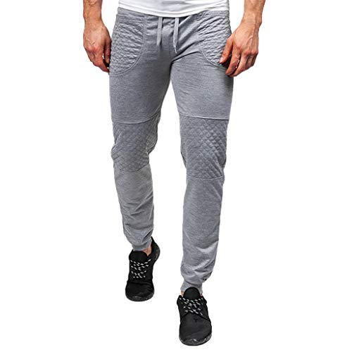 ANJUNIE Men Splicing Printed Joggers with Pocket Sport Work Activewear Cotton Trouser Pants(6-Gray,XXL)
