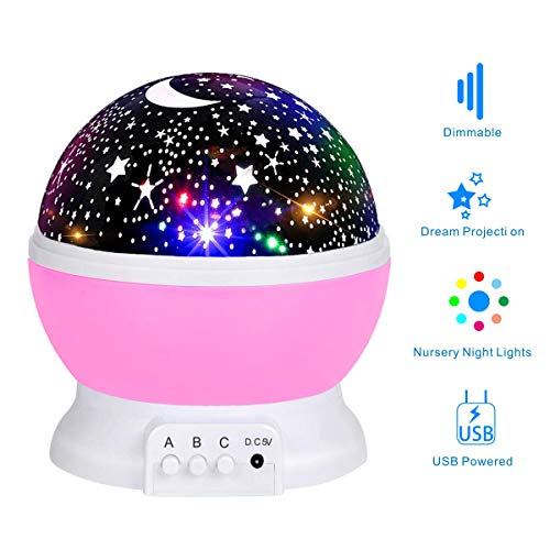 Holiky Night Lights,Toys for 2-3 Year Old Girls,Perfect Gifts for Girls and Boys,Night Lights for Kids and Baby, Colorful Rotating...