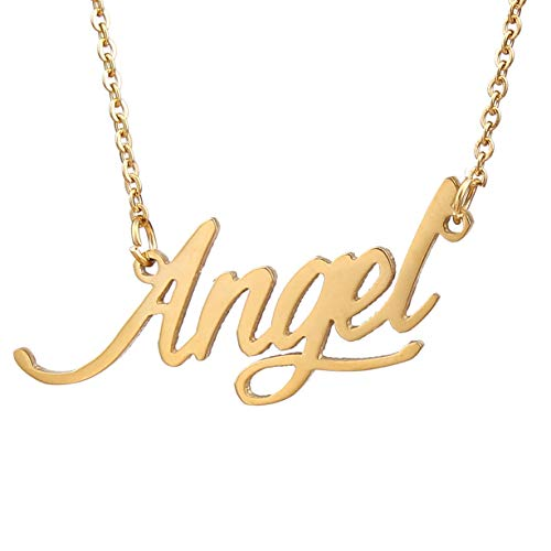 AOLO Family Necklace Cursive Words Letter Charm Necklace (Angel Golden)