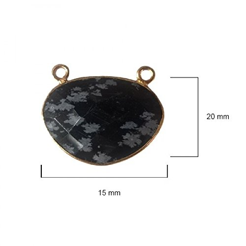 Snowflake Obsidian Oval 15X20mm by BESTINBEADS I Snowflake Obsidian Oval Bezel I Snowflake Obsidian Oval Pendant Pendant Gold I Bezels Connectors I Snowflake Obsidian Oval Cabochon