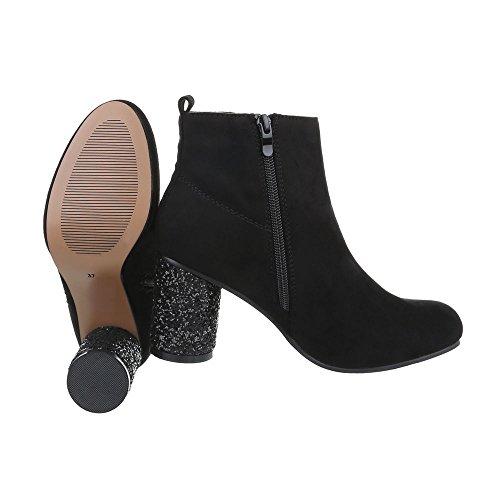 Classic Damen Heel Stiefel Design Stiefeletten Kitten Schwarz Ital bei PPapOv
