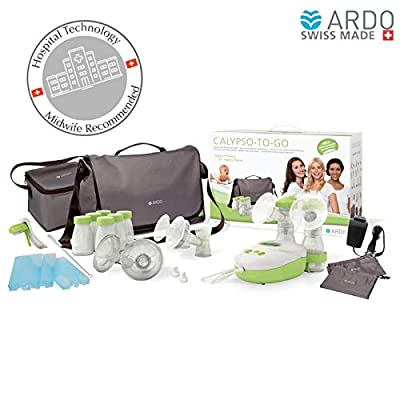 Image of Ardo - Calypso-To-Go Double Electric Breast Pump, ultra-silent hospital-technology pump, with messenger bag and many accessories, plug-in adapter and battery operated, Swiss Made Baby