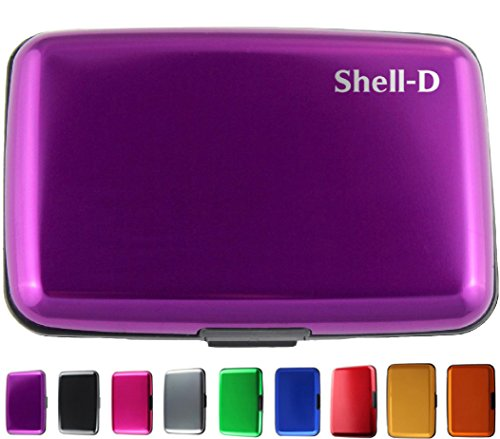 Shell-D RFID Aluminum Wallet Credit Card Holder- Prevent Electronic Scan Theft - Cool Slim Design for Men & Women - 100% Money Back Guarantee Purple