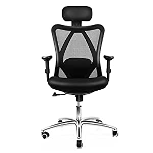 Office Chair INTEY Computer chair with Lumbar Back Support, 360 Degree Swivel Adjustable Ergonomic Computer Desk Chair, Tall Black Home Office Furniture Chairs
