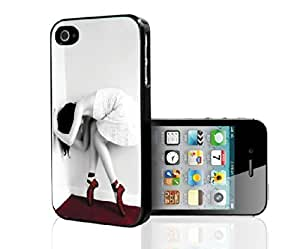 Black and White Ballerina Dancing in Red Ballet Shoes Hard Snap on Phone Case (iPhone 4/4s)