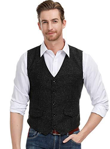 Men's Vintage Single Breasted 5 Button Vest Waistcoat Size XL Black ()