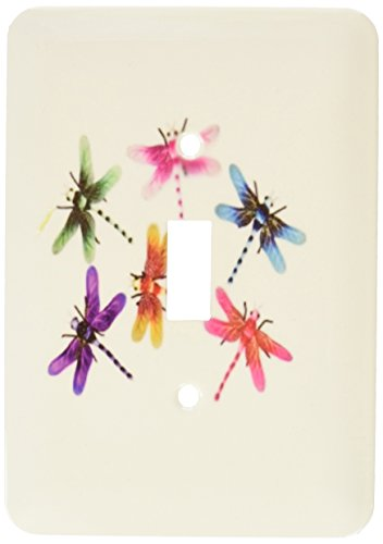 3dRose lsp_109374_1 Neon Colored Dragonflies Single Toggle Switch (Neon Dragon)