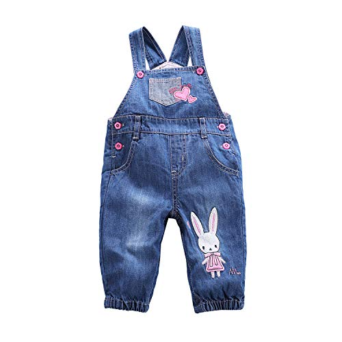 Baby and Little Boys/Girls Jeans Jumpsuit Embroidered Cartoon Soft Denim Overalls Strap (6-9 Months, Rabbit)