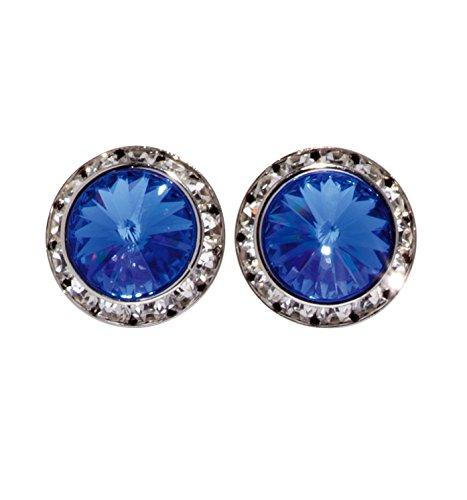 17MM Pierced Swarovski Crystal Earrings,2710PSAP,Sapphire,One-Size (Sapphire Pierced Earrings)