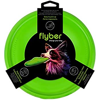 Flyer Dog Toy by Flyber - Floating Disc Toy 9-inch for Outdoors and Indoors Games, the First Double-Sided Flying Disk for Dogs and Their Owners - Bright Green Color