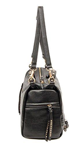 Casual Shopping Black Pocket Front Bag Yiji Women's Shoulder Portable anq75PO5