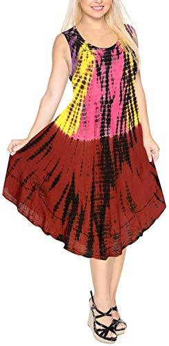 Maxi 3 Dames 1 Tie LEELA Rayonne Bain Cocktail Maillots en Tunique Couvrir Court Rond Dye sans brod Ample Bal Loungewear LA Tunique Casual de Taille g399 Beachwear Manches de Bordeaux Haut Plus col Robe Femmes 5wUP5n