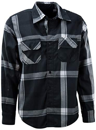 ChoiceApparel Mens Soft and Durable Button Down Flannel Long Sleeve Shirts (Many Patterns and Colors) (3XL, 7-Charcoal)