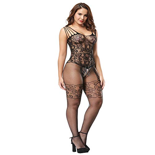 c1df60fec24 Deksias Womens Strap Floral Crotchless Bodystocking Plus Size Bodysuit for  Women