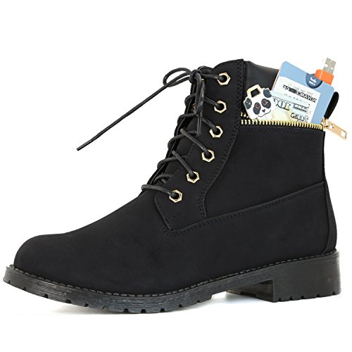 DailyShoes Women's Lace-Up Ankle Padded Collar Work Combat Side Zipper Pocket Ladies Booties - stylishcombatboots.com