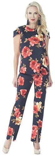 Cover Charge Off The Runway Pant Suit Navy/Coral - M