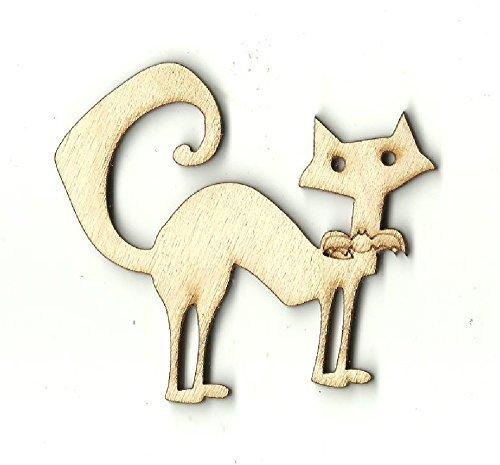Cut Wood Sign Silueta de gato y bate para decorar gatos y bates con forma de madera de bate y gato, corte láser, forma de madera sin acabar.