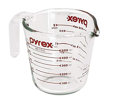 Pyrex Prepware 2-Cup Measuring Cup, Red Graphics, Clear
