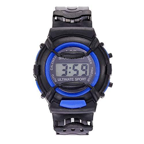 D Digital Sport Quartz Analog Unisex Children Date Wrist Watch Silicone Strap(Blue) ()
