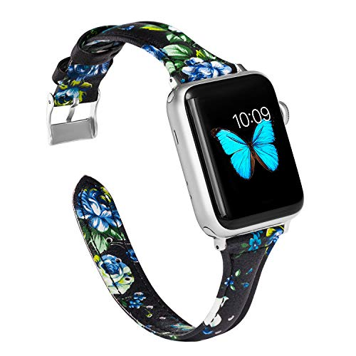 Wearlizer Blue Black Floral Thin Leather Compatible with Apple Watch Bands 38mm 40mm iWatch Womens Straps Wristband Flower Printed Replacement Cute Sport Bracelet (Metal Silver Clasp) Series 4 3 2 1
