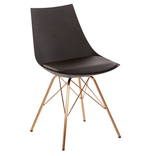 AVE SIX Oakley Faux Leather Task Chair with Gold Chrome Base, Black