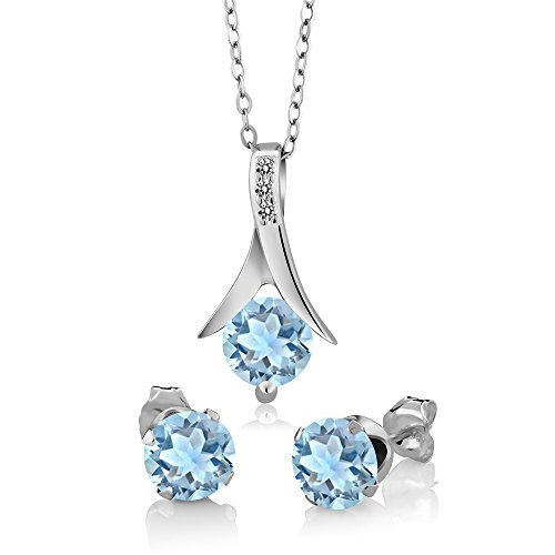 (Gem Stone King 2.30 Ct Round Cut Sky Blue Aquamarine White Diamond 925 Sterling Silver Pendant Earrings Gift Set)