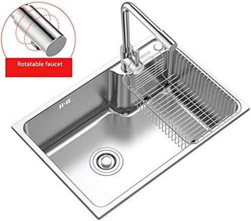 流し台シンク スクエアバスルームのシンク/家庭用ステンレス鋼の野菜や果物洗濯シンク/洗面室着替え (Color : 360 rotating faucet, Size : 62*43cm)