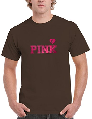 - BBT Adult Metallic Foil PINK Breast Cancer Awareness T-shirt 2XL Dark Chocolate