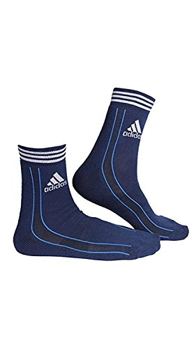 Adidas Men's AD-416 Half Cushion Quarter, Grey/White/Blue (Pack of 3)