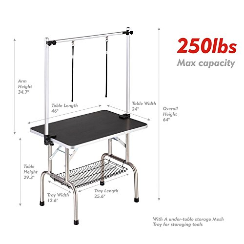 46'' x 24'' Professional Adjustable Heavy Duty Dog Pet Grooming Table W/Arm & Noose & Mesh Tray,Maximum Capacity Up to 250LB by Haige Pet Your Pet Nanny (Image #1)