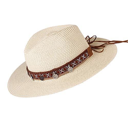 (Womens Wide Brim Straw Panama Hat Fedora Summer Beach Sun Hat UPF50 (Style Cream, L (Head Circum 22.8