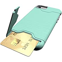 iPone 7 Hard Case (Drop Tested) with Card Holder (Hides Card for Protection) and Kick Stand Anti-Shock, Anti-Scratch Card Holder Case (Green)