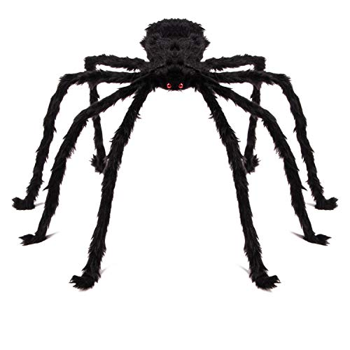Bridgetown Outdoor Halloween Decorations Huge 4 Ft. Black Hairy Spider with 40 Square Ft.Stretchable Spider Cobweb/Tarantula with Red Eyes Best for Halloween Party Yard Haunt Decor
