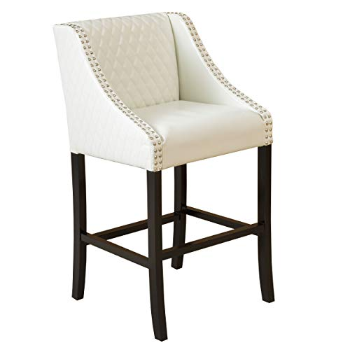 Christopher Knight Home 281729 Filton Ivory White Quilted Faux Leather Stool, (Leather Kitchen Cream Chairs)