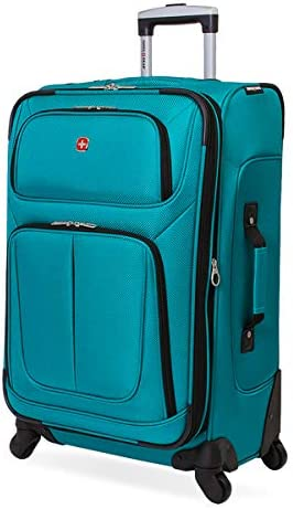 SwissGear Sion Softside Luggage with Spinner Wheels, Teal, Checked-Medium 25-Inch
