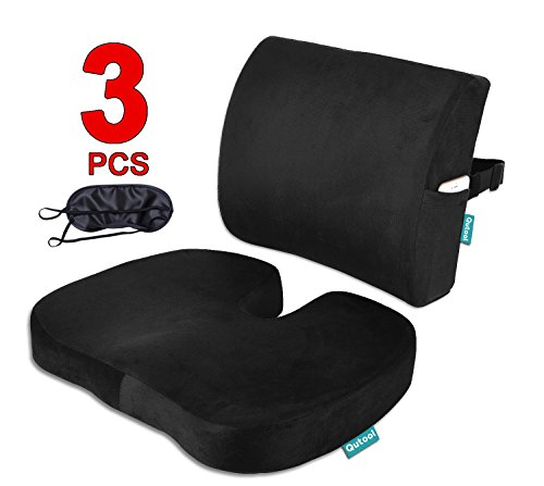 Seat Cushion Coccyx Orthopedic Memory Foam and Lumbar Support Pillow for Office Chair and Car Chair Cushion for Low Back Support, Tailbone Pain, Sciatica Relief Black ()