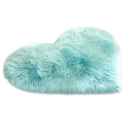 lotus.flower Super Soft Heart Shaped Rug, Wool Imitation Sheepskin Rugs,7 Colors Choice,Faux Fur Non Slip Bedroom Shaggy Carpet Mats Dining Room, Living Room, Bathroom, Hall, Bedroom (C)