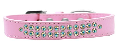 Mirage Pet Products Two Row AB Crystal Light Pink Dog Collar, Size 20 by Mirage Pet Products