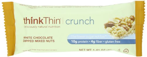 thinkThin Crunch White Chocolate Mixed Nuts, Gluten Free, 1.41-Ounce Bars (Pack of 10), Health Care Stuffs