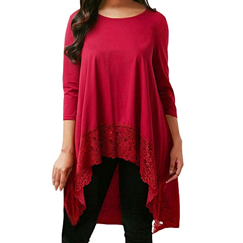 Londony ♥‿♥ Clearance Sales 2018,Women's Casual Loose Tops Long Sleeve Lace Trim O-Neck A-Line Tunic Tops ()