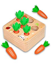 Euyecety Toddler Toy Wooden Educational Montessori Learning Toy, Carrots Harvest Matching Puzzle Shape Sorter, Fine Motor Skill Preschool Developmental Toy Best Gift for 1 2 3 Years Old Boy Girl Baby