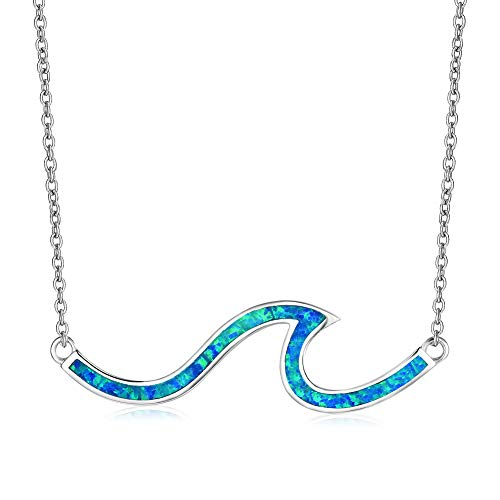 Sterling Silver Wave Pendant - Junxin Chic 925 Sterling Silver Wave Necklace Pendant White And Blue Laboratory Opal Cut Girls Gift