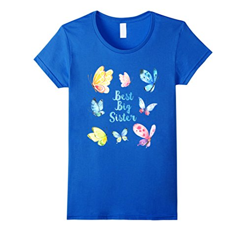 Womens Cute Butterfly Sister Quote Best Big Sis Shirts Boho Girl XL Royal Blue