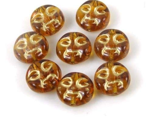ShopForAllYou Decoration Beads 9mm Czech Glass Moon Faces Beads - Topaz/Amber - Gold Inlay - Beads Blue Moon Crystal